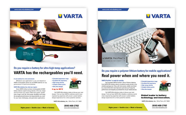 Varta Microbattery Inc ad campaign image